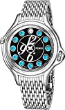 Fendi Crazy Carats Ladies Stainless Steel Luxury Watch - 38mm Black Face Multi Color Gemstones Analog Swiss Quartz Watch For Women F105031000T04