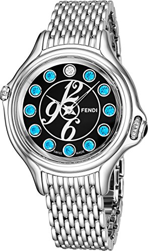 Fendi Crazy Carats Ladies Stainless Steel Luxury Watch - 38mm Black Face Multi Color Gemstones Analog Swiss Quartz Watch For Women F105031000T04 by Fendi