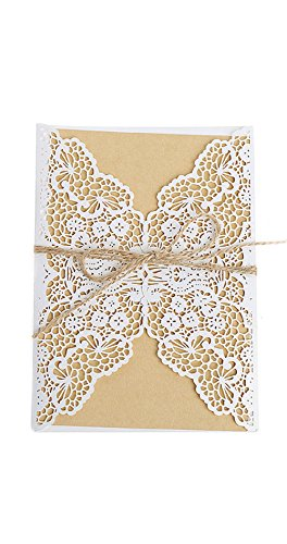 (cici store 10Pcs Hollow Lace Wedding Invitation Cards Kit with Envelopes Personalized Greeting Cards (white))