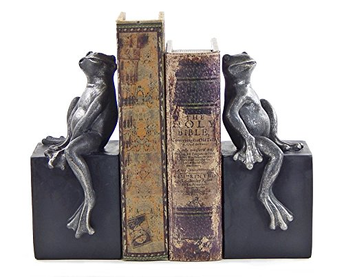 (Bellaa 23385 Thinker Bookends Fanciful Frog Book Ends 8 inch)