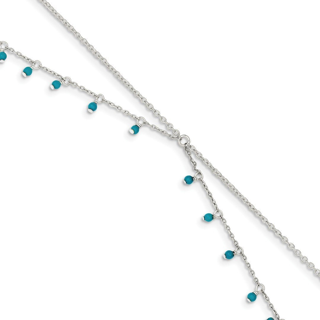 Ankle Bracelet Foot Jewelry Anklet - ICE CARATS 925 Sterling Silver Blue Turquoise Double Chain Anklet Ankle Beach Bracelet Fine Jewelry Ideal Gifts For Women Gift Set From Heart