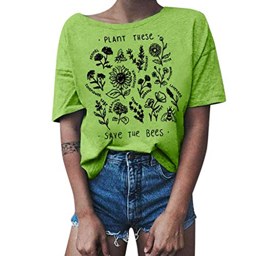 - Shusuen Plant These Save The Bees Shirt Flowers T Shirt Tee Tops Green