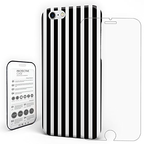 (Phone Case Protectivedesign Hard Back Case Black and White Stripe Pattern Slim Case for iPhone 7/iPhone 8 by Rocking Giraffe)