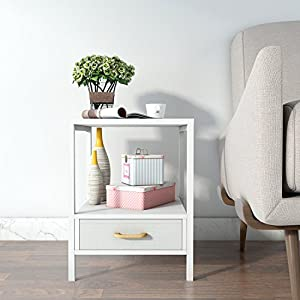 Lifewit 2 Tier Square Side Nightstand / End Table / Coffee Table With  Drawer, White