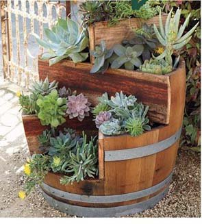Multi-Tiers Barrel Planter with 2 Triangle Beds, Lacquer Finished, 26