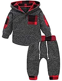 Kids Toddler Baby Boys Girls Fall Clothes Outfit Winter Long Sleeve Plaid Pocket Hoodie Sweatshirt Jackets Shirt...