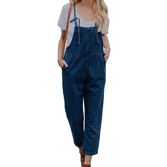 Women Denim Dungaree Jeans Jumpsuit Playsuit Bib Pants Romper Overalls Trousers