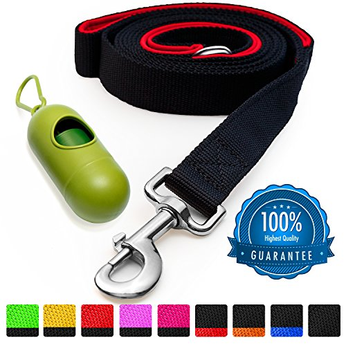 [Strong] Dog Leash with Bonus FREE Waste Bag Dispenser – Thick Padded Dual Handles, Includes Poop Bags & 100% Nylon (6ft. Long) – Comfortable Grip – Ideal for Large, Medium and Small Dogs