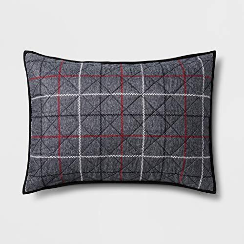 (Pillowfort Standard Window Pane Pillow Sham Gray Plaid 20
