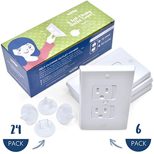 Wittle Self Closing Outlet Covers (6 White) Plus 24 Clear Plug Cover Outlet Protectors | Child and Baby Proofing Electrical Outlets the Simple and Convenient Way With a One of a Kind Combo Pack!