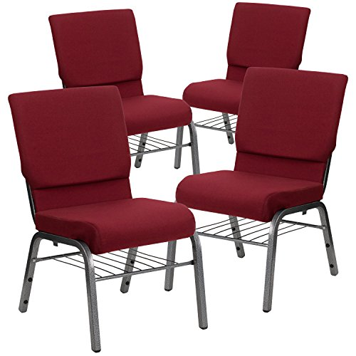 Flash Furniture 4 Pk. HERCULES Series 18.5''W Church Chair in Burgundy Fabric with Book Rack - Silver Vein Frame ()