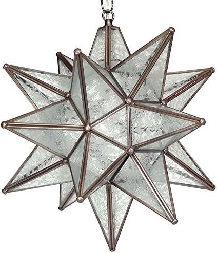Moravian Star Pendant, Glue Chip Glass, Bronze Frame, 16