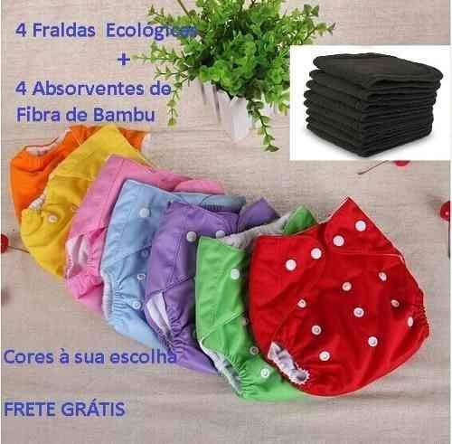 Kit 4 Fraldas Ecologicas 4 Absorventes De Carvão De Bambu
