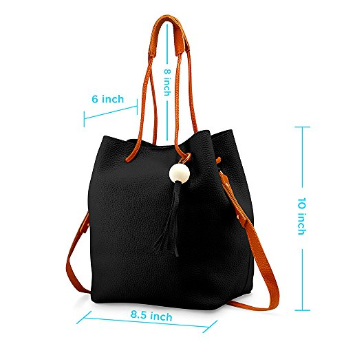 Oct17 Fashion Tassel buckets Tote Handbag, Women Messenger Hobos Shoulder Bags, Crossbody Satchel Bag - Black by OCT17 (Image #4)