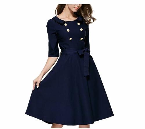 RoseGal Camicia donna vintage stile anni 50 con doppio bottone di metallo anteriore e colletto, gonn...