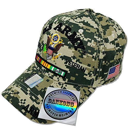 DANKONG U.S. Army Hat -Official Licensed US Warriors Military 3D Embroidered Baseball Cap with Size Adjustable Hoop and Loop Closure for Men and Women - U.S. Army - Eagle - Vietnam Veteran - Digi Camo