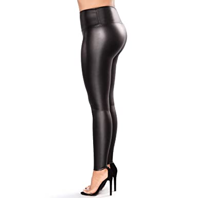 cc66c5d5b1a4b Retro Plus Size Womens Leather Leggings Stretchable High Waisted Leather  Pants (Black