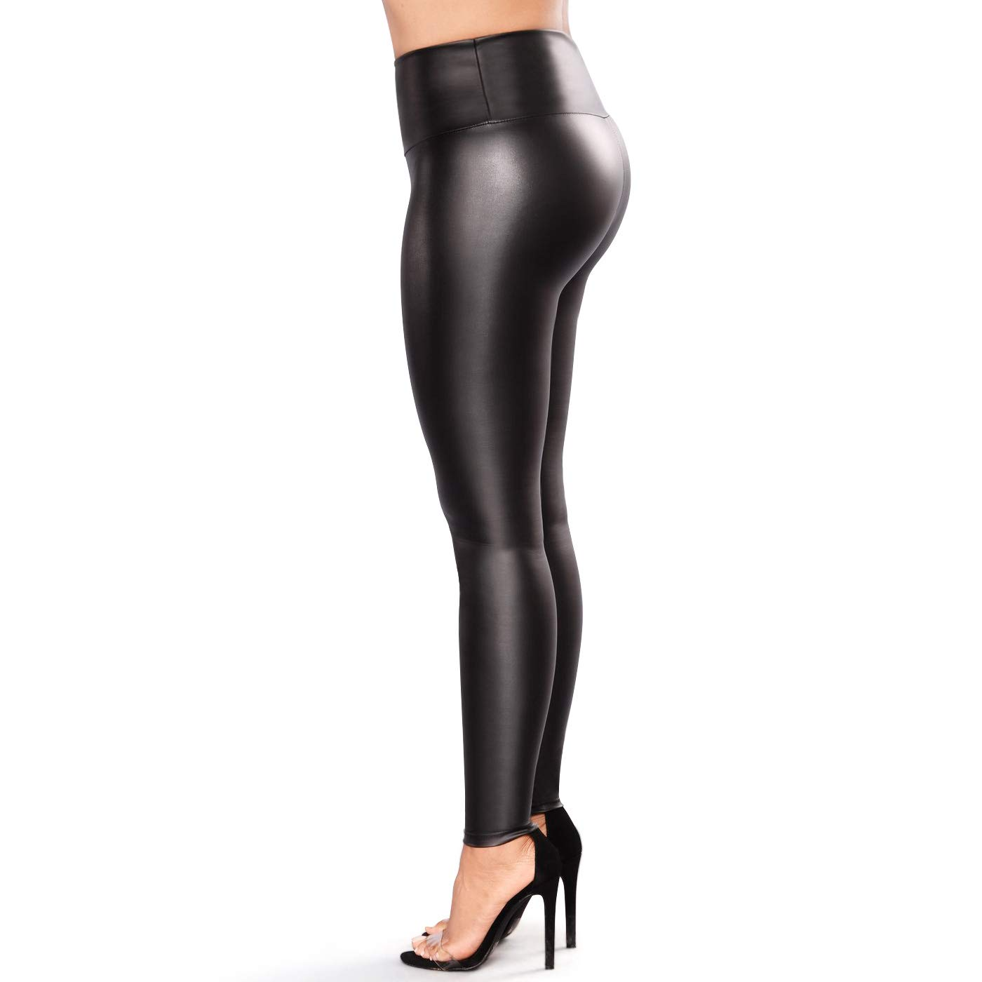 Retro Plus Size Womens Leather Leggings Stretchable High Waisted Leather Pants (Black, XXL-US 20-22 /Waist 38''-42'' Hips47-51)