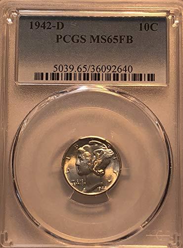 - 1942 D Silver Mercury Full Band WWII ERA Dime MS-65FB PCGS