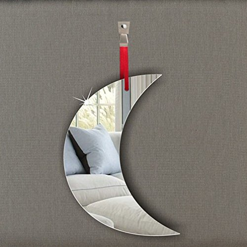 Pack of 5 Moon Acrylic Mirror Ornament - Window Hanging - Ceiling - Door - Nursery - Children - Room Decoration Mirrors-interiors