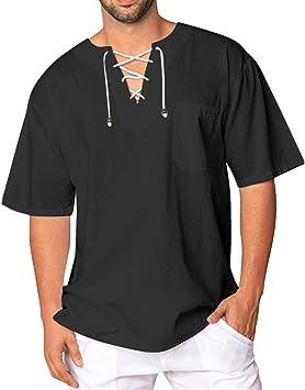 PPangUDing – Camisa de hombre hippie, camisa de verano, lino, parte superior de manga corta, camiseta, camisa de negocios, camisa normal, Slim Fit bodas: Amazon.es: Ropa y accesorios