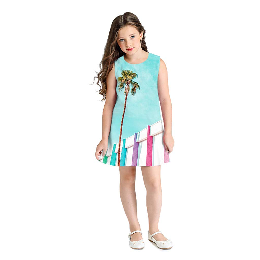 OCEAN-STORE Teen Kid Girls Dresses Sleeveless 3D Cartoon Print Princess Casual Clothes