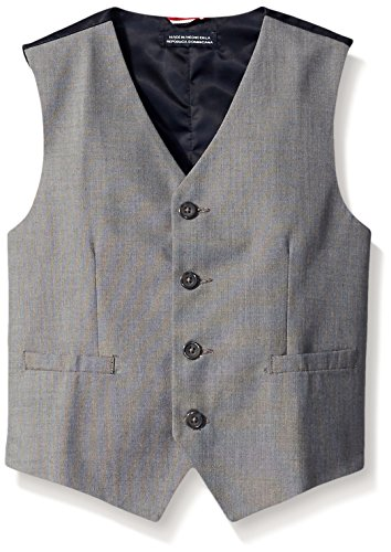 (Tommy Hilfiger Big Boys' Sharkskin Suit Vest, Light Grey, 16)