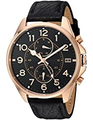 Tommy Hilfiger Mens Quartz Gold and Leather Watch, Color:Black (Model: 1791273)