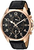 Tommy Hilfiger Men's Quartz Gold and Leather Watch, Color:Black (Model: 1791273)
