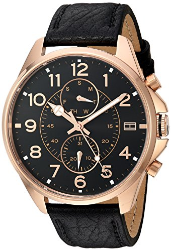 Tommy-Hilfiger-Mens-Quartz-Gold-and-Leather-Automatic-Watch-ColorBlack-Model-1791273
