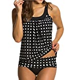 Eternatastic Women's Retro Polka Dot Tankini Swimwear With Panty Two Pieces Swimsuit Set Black Polka Dot L = US 10-12