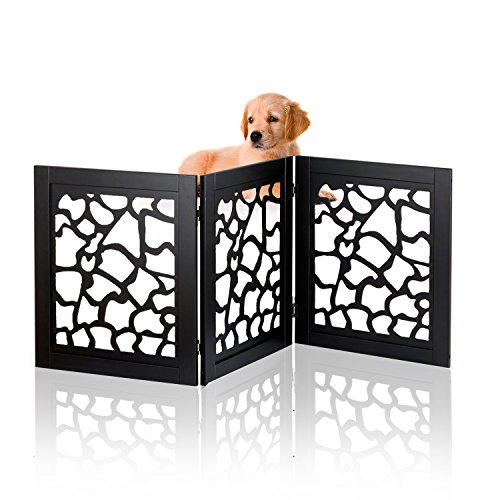 Kleeger KLG-155 Freestanding Folding Indoor Safety Wooden Pet Gate For Home Or Office [ Die-Cut Giraffe Pattern Design ]. No Tools Required, Easy To Set Up