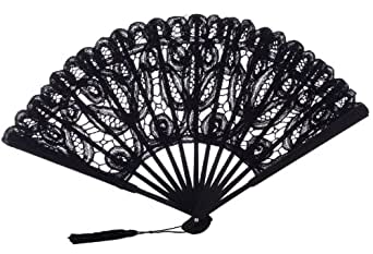 paraThe 1 for U hecho a mano mujer encaje de algodón Ventilador Negro