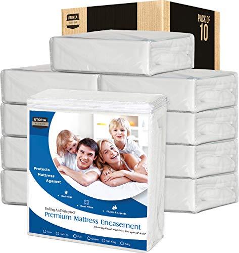 Utopia Bedding Zippered Waterproof Premium Mattress Encasement Bulk Pack of 10 (Twin) - Bed Bug Covers