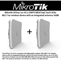 Mikrotik SXTsq 5 ac-US (RBSXTsqG-5acD) 2-UNITS outdoor 5Ghz 802.11ac wireless device with an integrated antenna, perfect for point-to-point links, includes one 10/100/1000 Mbit Ethernet