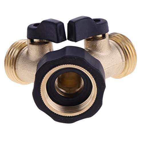 MonkeyJack 3/4'' 2 Way Double Garden Twin Tap Hose Pipe Splitter Faucet Connector Adaptor