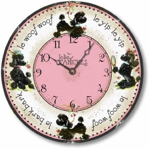 Fairy Freckles Studios Item C9106 Vintage Style 10.5 Inch Retro Fifties French Poodles Clock 10.5 Inch Diameter