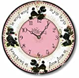 Item C9106 Vintage Style 10.5 Inch Retro Fifties French Poodles Clock (10.5 Inch Diameter)