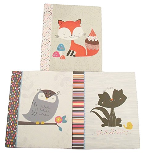 Carolina Pad Studio C 3 Folder Set ~ Forest Friends (Red Fox with Decorative Mushrooms, Gray Owl on Branch, Skunk and Bird Friends)