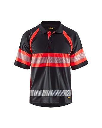 Blåkläder Polo Camisa UV de alta visibilidad Clase 1, Negro / Rojo ...