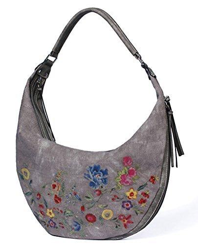 Let It Be Women Handbags Designer Hobo Shoulder Bags Casual Tote Vintage Boho with Flowers Pattern - Grey