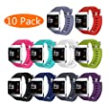 KingAcc Fitbit Ionic Bands, Soft Accessory Replacement Band for Fitbit Ionic, With Metal Buckle Fitness Wristband Strap Women Men Large Small Black, White, Rose, Gray, Blue, Red, Purple, Green