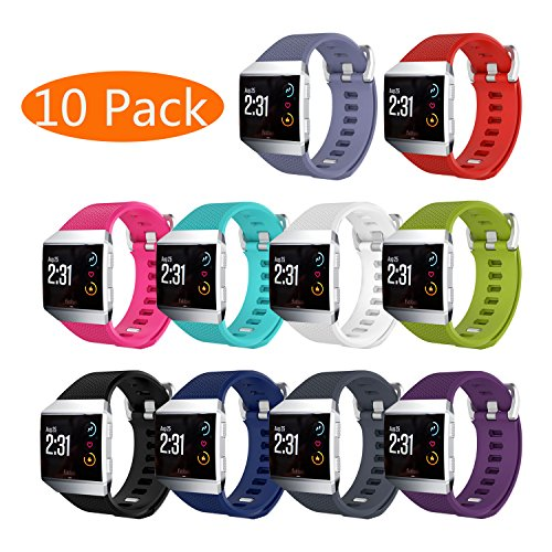 Fitbit Ionic Bands, KingAcc Soft Accessory Replacement Band for Fitbit Ionic, With Metal Buckle Fitness Wristband Strap Women Men (10-Pack, 10 Colors, - Male Color Pink