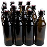33 oz. Grolsch Glass Beer Bottles, Quart Size - Airtight Swing Top Seal Storage for Home Brewing of Alcohol, Kombucha Tea, Homemade Soda by Cocktailor (12-pack)