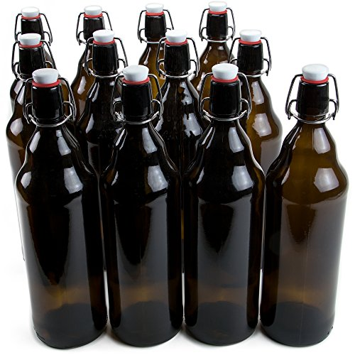 33 oz. Grolsch Glass Beer Bottles, Quart Size - Airtight Swing Top Seal Storage for Home Brewing of Alcohol, Kombucha Tea, Homemade Soda by Cocktailor (12-pack)]()