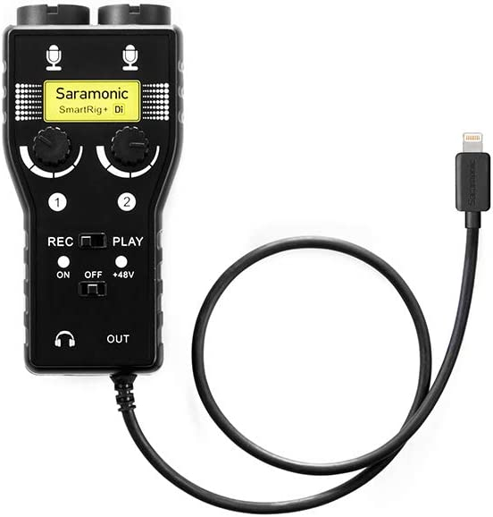 Saramonic 2-Ch 3.5mm, XLR Microphone & 6.35mm Guitar Interface with Lightning Output Connector Professional Video, (SMARTRIG+DI)