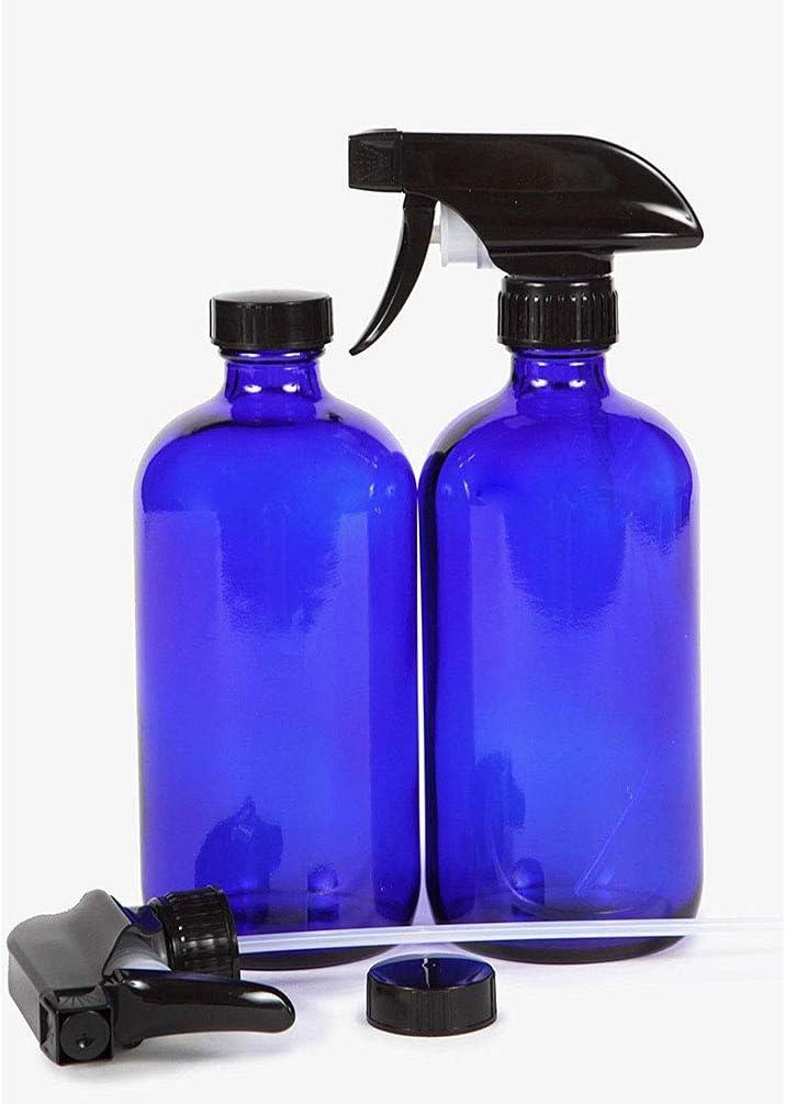 Aromath/érapie 1 Produits de nettoyage Bleu cobalt 16 oz Vaporisateurs-verre Boston Rechargeables bouteille ronde with Trigger Mist Pulv/érisateur ET-pour le param/êtres volet Huiles Essentielles