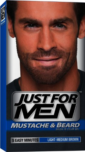 Just for Men Brush-In Gel de couleur pour Moustache et barbe, Light-Medium Brown, M-30, 1 kit (pack de 3)