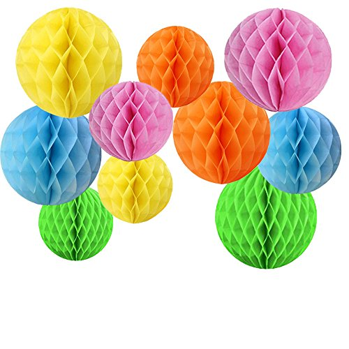 Daily Mall 10pcs 8 inch 10 inch Honeycomb Balls Party Pom Poms Tissue Paper Honeycomb Balls Birthday Balls Decoration Wedding Partners Design Craft Hanging Pom-Pom Ball Home Nursery Decor (Style-3)
