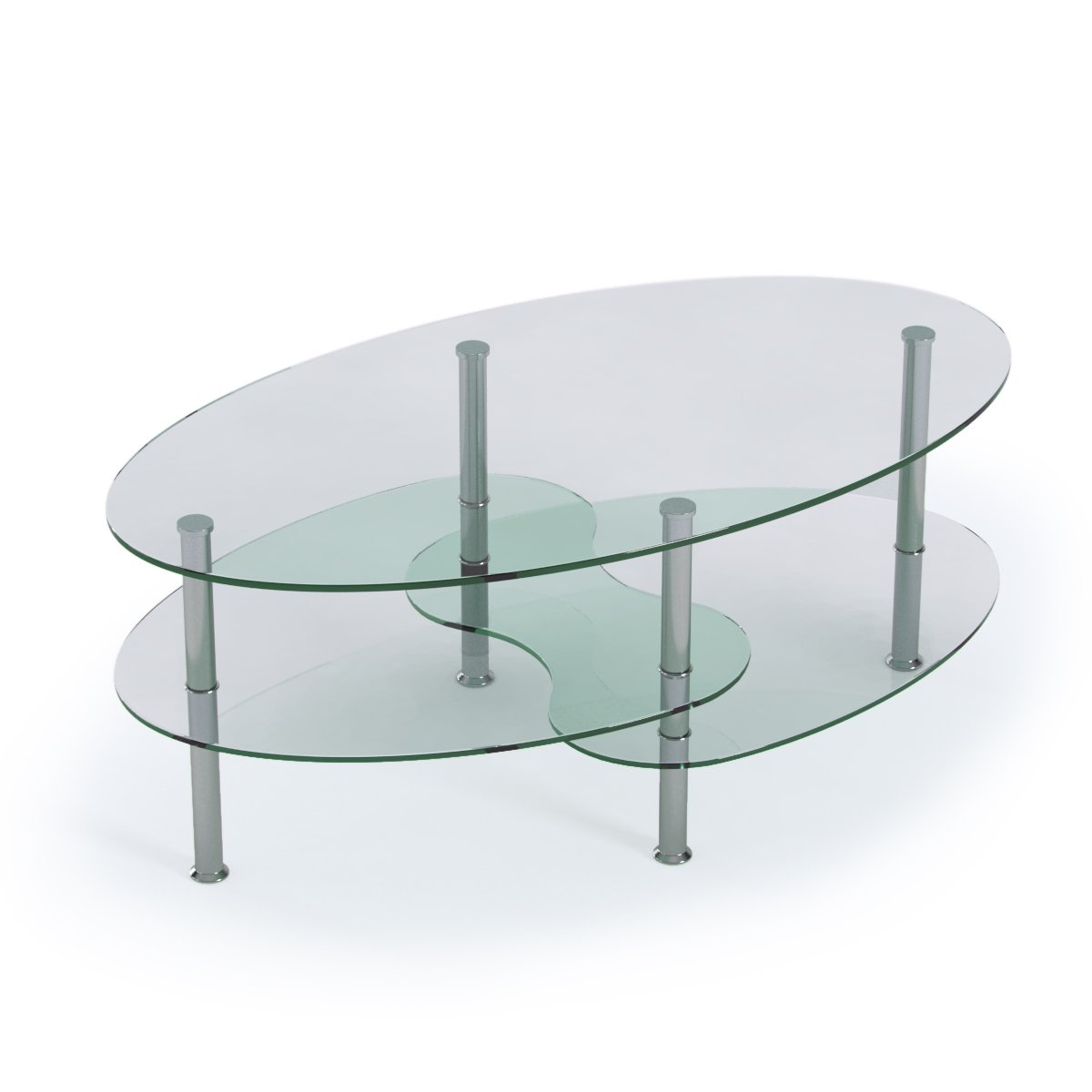 Amazon.com: Ryan Rove Ashley 38 Inch Oval Two Tier All Clear Glass ...